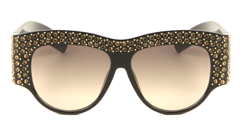 Rhinestoned Thick Frame Wholesale Fashion Sunglasses