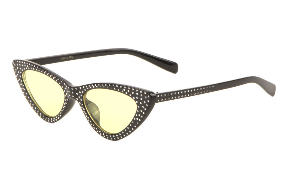 Fake Rhinestone Thin Cat Eye Wholesale Sunglasses