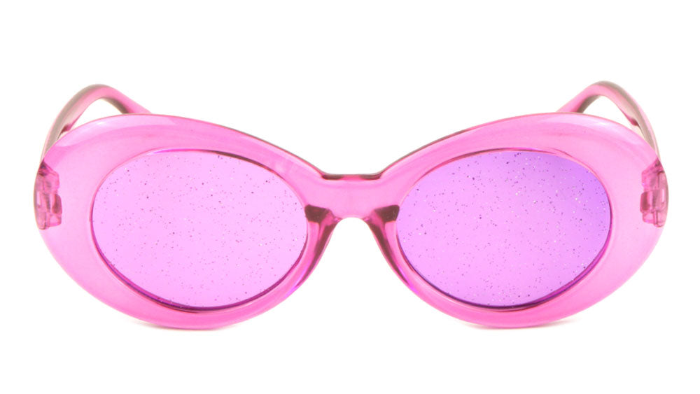 Crystal Oval Glitter Color Lens Sunglasses Wholesale