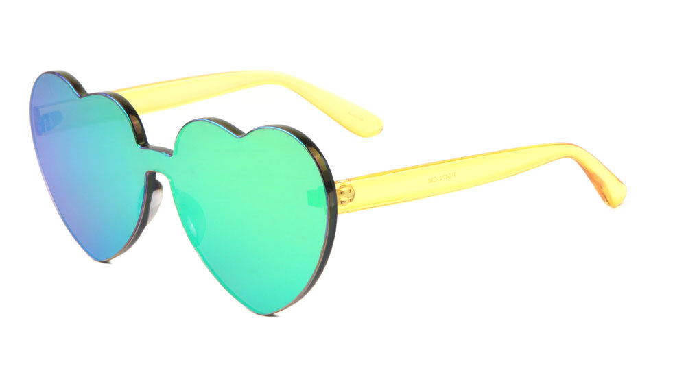 Rimless Color Mirror Heart Sunglasses Wholesale