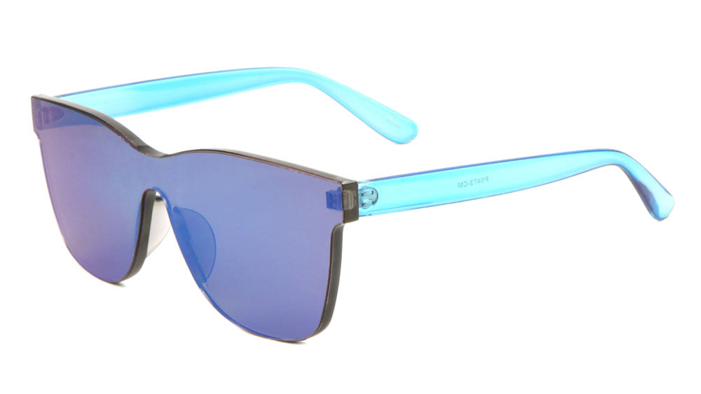 Rimless One Piece Shield Color Mirror Sunglasses Wholesale