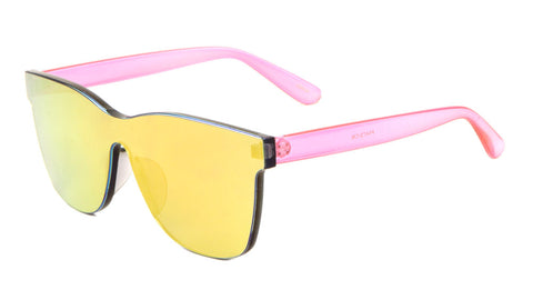 P6473-CM - Rimless One Piece Shield Color Mirror Sunglasses Wholesale