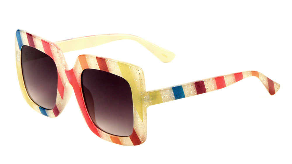 Glitter Stripe Squared Butterfly Sunglasses Wholesale