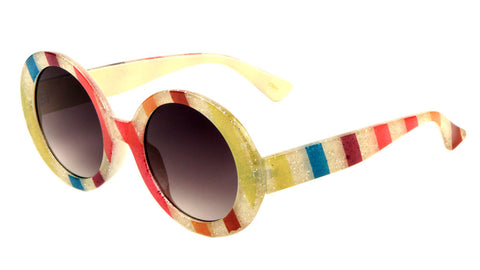 Glitter Stripe Round Fashion Sunglasses Wholesale