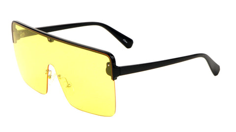 Plastic Flat Top One Piece Semi-Rimless Oversize Sunglasses