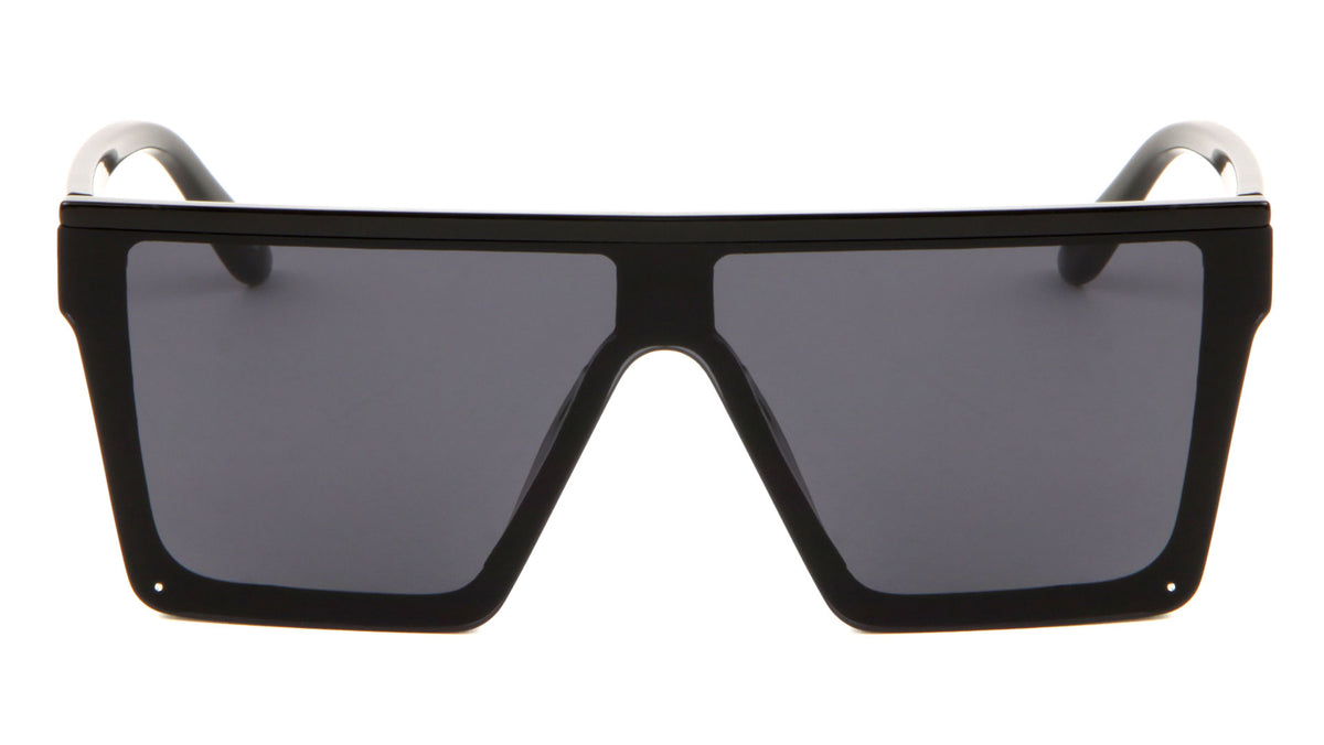 Black Flat Top Shield Wholesale Sunglasses