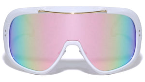 Oversized Color Mirror Shield Wholesale Sunglasses