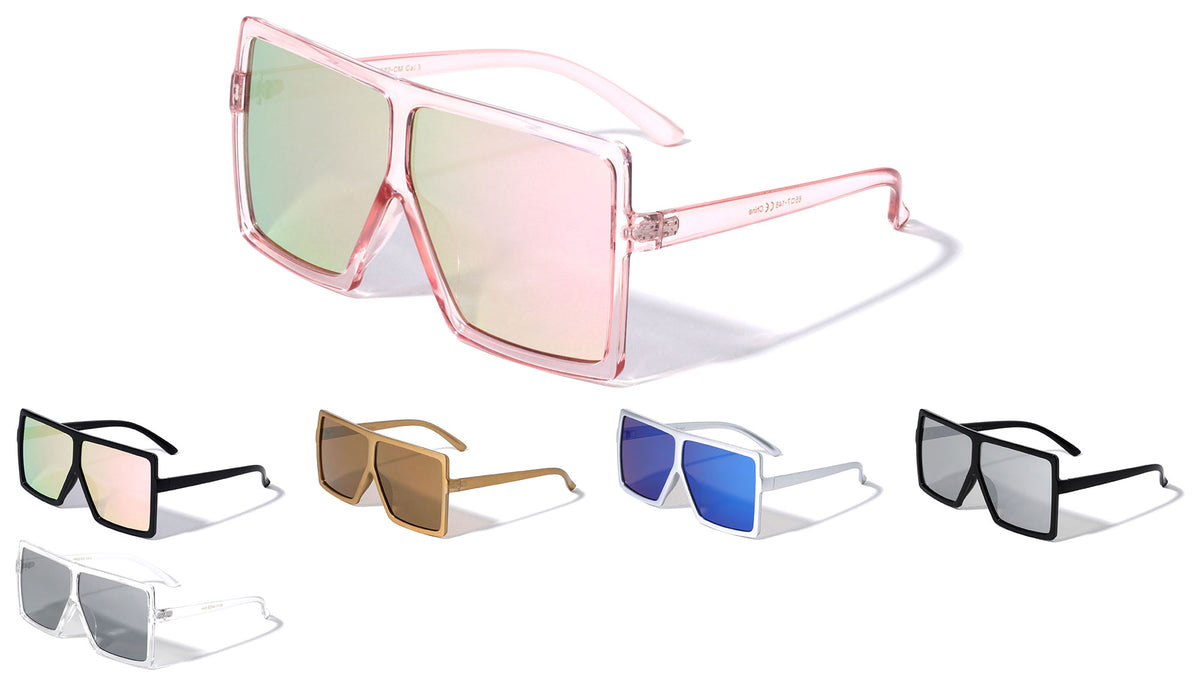 Oversized Squared Rectangle Color Mirror Wholesale Sunglasses