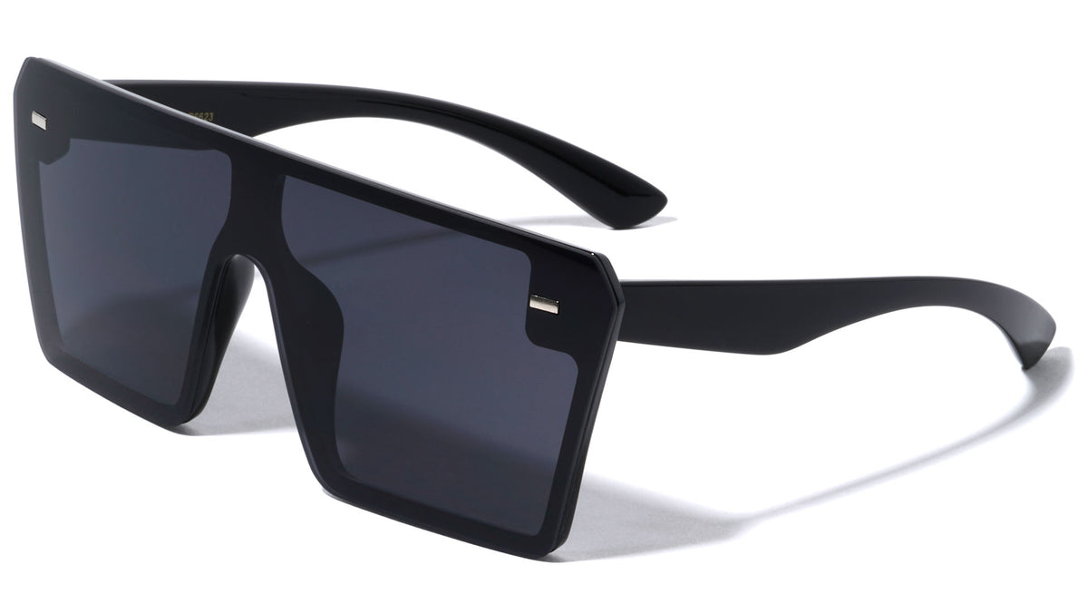 Flat Top Rimless One Piece Shield Wholesale Sunglasses
