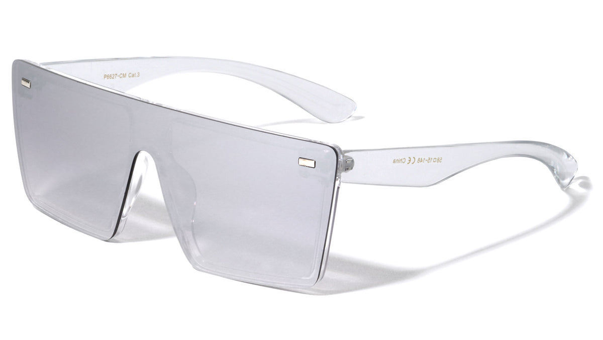 Flat Top Rimless Shield Color Mirror Wholesale Sunglasses