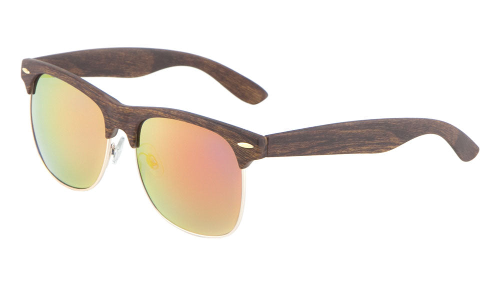 Combination Wood Pattern Color Mirror Bulk Sunglasses