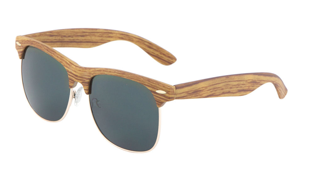Wood Pattern Combination with Super Dark Lens Sunglasses Wholesale