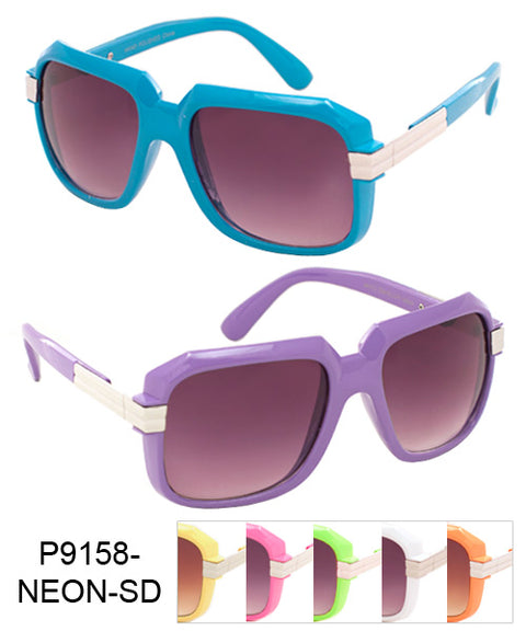 Squared Neon Color Super Dark Lens Bulk Sunglasses