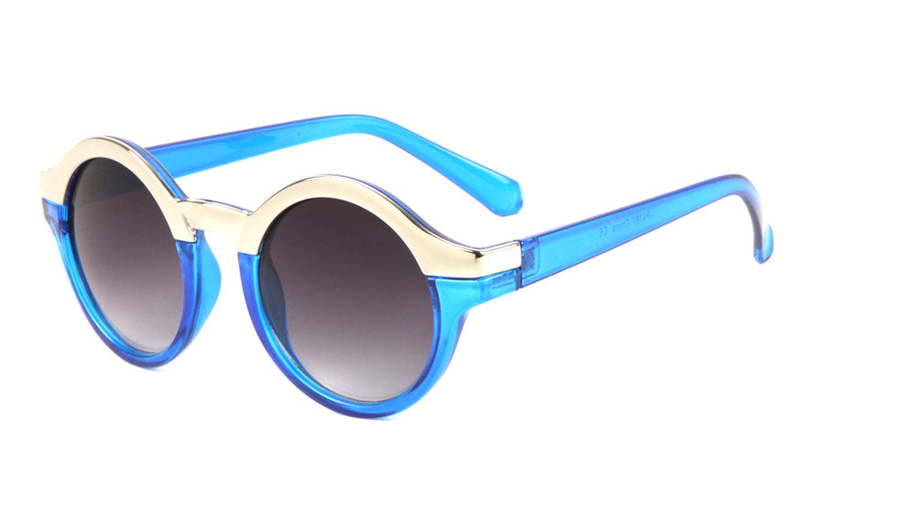 Solid Brow Line Retro Round  Wholesale Bulk Sunglasses