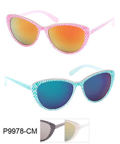 Zig Zag Cat Eye Color Mirror Wholesale Bulk Sunglasses