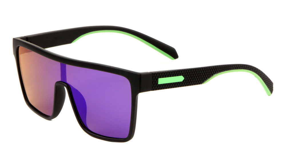 Polarized Flat Top One Piece Shield Sunglasses Wholesale