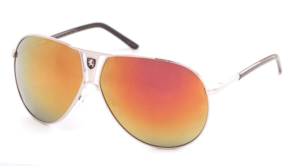 KHAN Aviators Cutout Front Polarized Color Mirror Wholesale Sunglasses