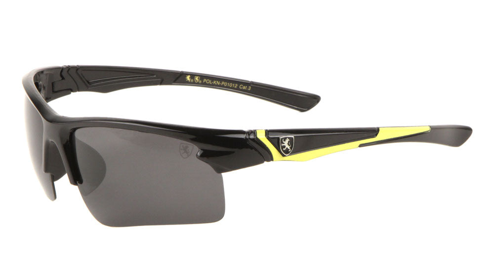 KHAN Polarized Semi-Rimless Color Accent Sport Wholesale Sunglasses