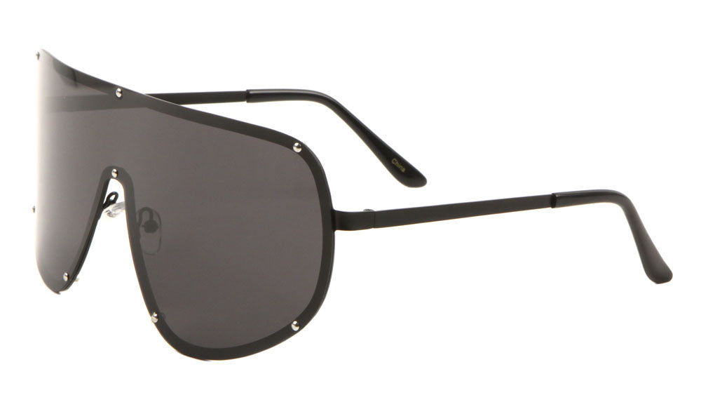 Polarized Rimless Solid One Piece Lens Wholesale Sunglasses