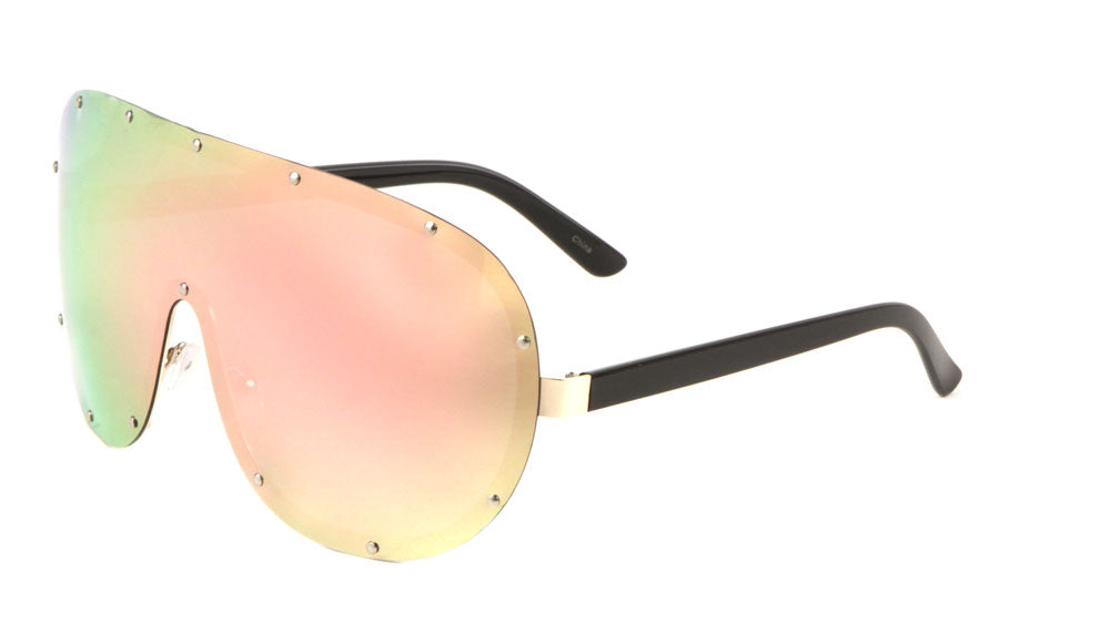 Polarized Color Mirror Rimless Solid One Piece Lens