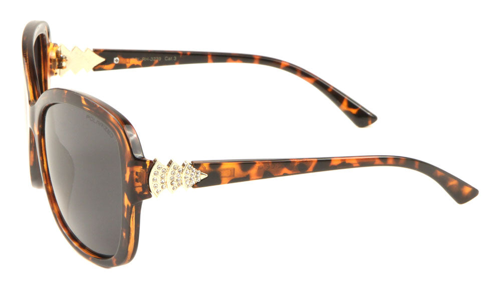Polarized Rhinestoned Temple Butterfly Sunglasses Wholesale