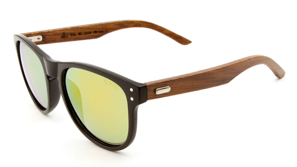 EKO Wood Classic Polarized Color Mirror Bulk Sunglasses