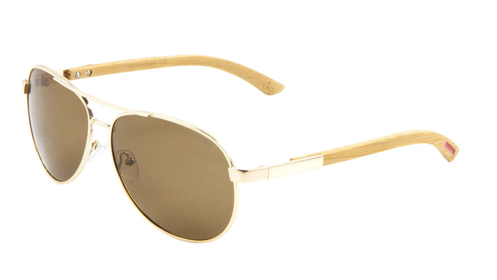 EKO Wood Aviators Polarized Wholesale Bulk Sunglasses