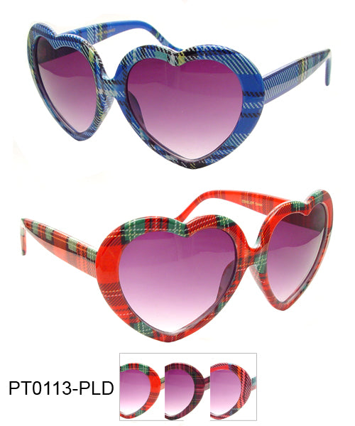 Party Plaid Heart Novelty Sunglasses