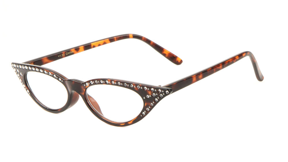 Small Reading Rhinestone Cat Eye Glasses Wholesale