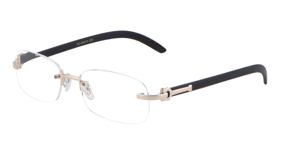 Rimless Wood Pattern Wholesale Bulk Reading Glasses