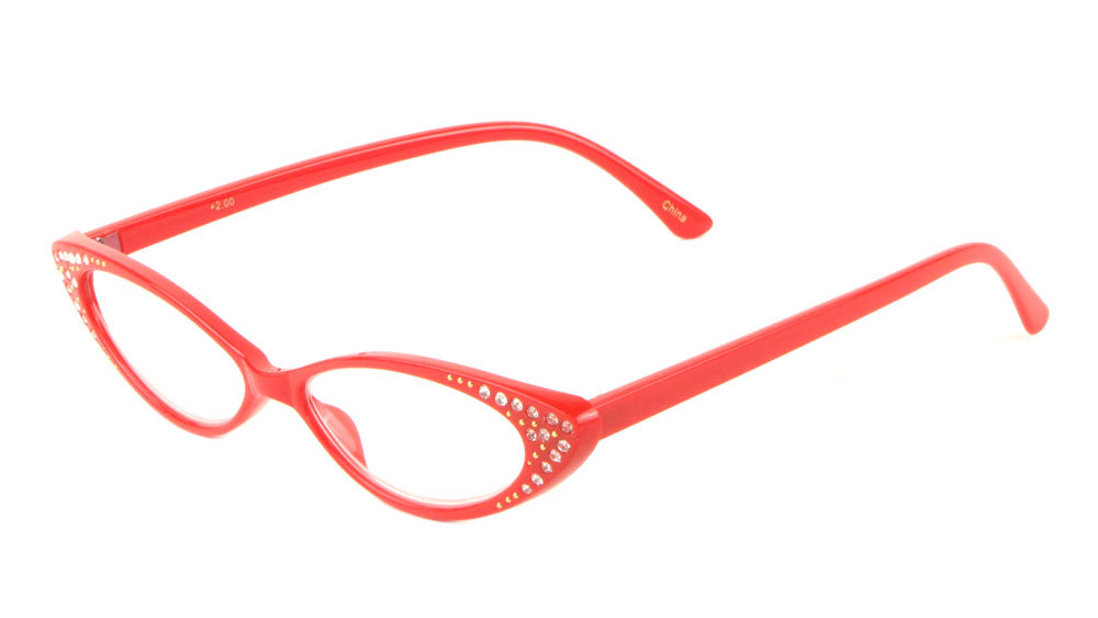 Small Reading Rhinestone Thin Cat Eye Bulk Glasses
