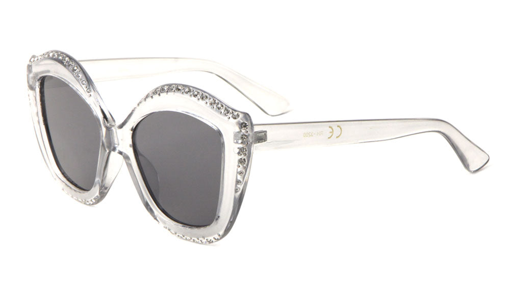 Rhinestone Fancy Curved Cat Eye Wholesale Bulk Sunglasses