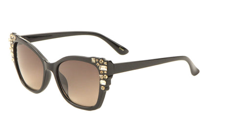 RH-3207 - Cat Eye Rhinestoned Corner Bulk Wholesale Sunglasses
