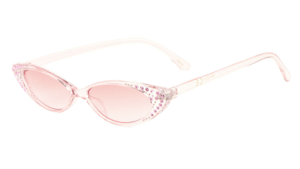 Rhinestoned Thin Cat Eye Bulk Wholesale Sunglasses