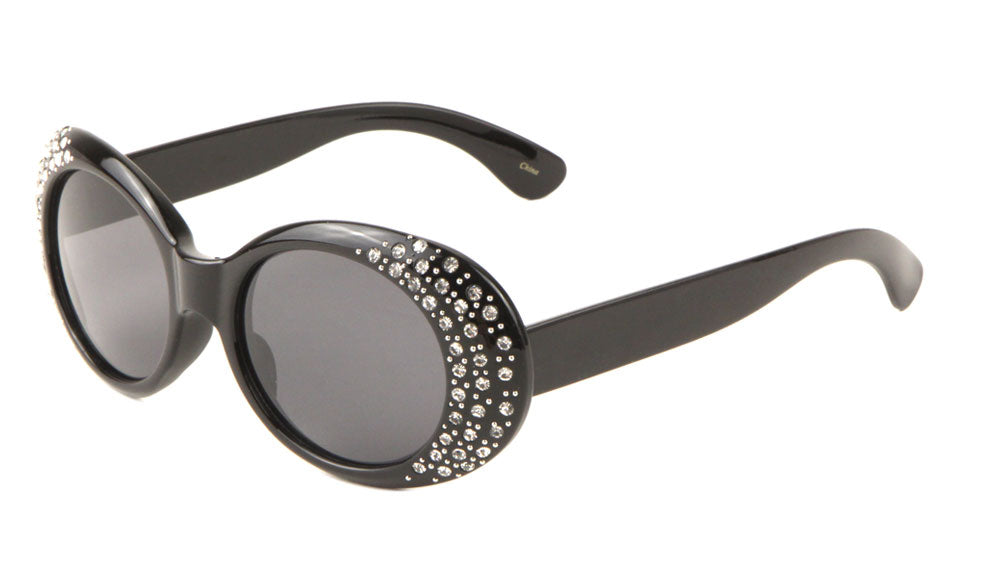 Rhinestone Oval Fashion Wholesale Sunglasses