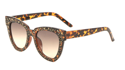 RH-3215 - Rhinestoned Squared Cat Eye Wholesale Sunglasses