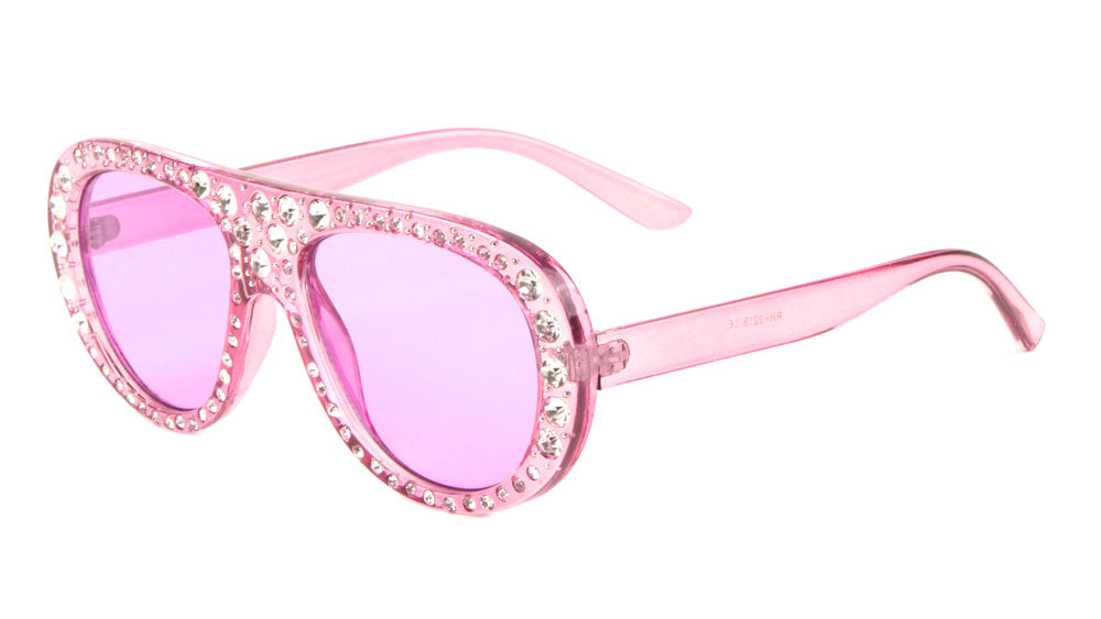 Crystal Frames Round Aviators Fashion Wholesale Sunglasses ...