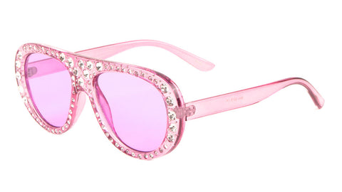RH-3218 - Crystal Frames Round Aviators Fashion Wholesale Sunglasses