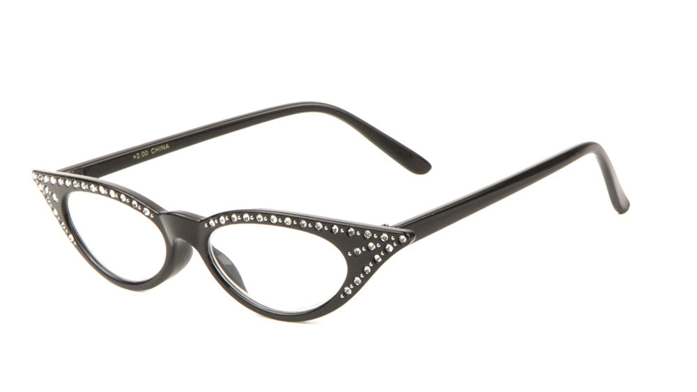 Small Rhinestone Clear Lens Pointy Cat Eye Glasses Wholesale
