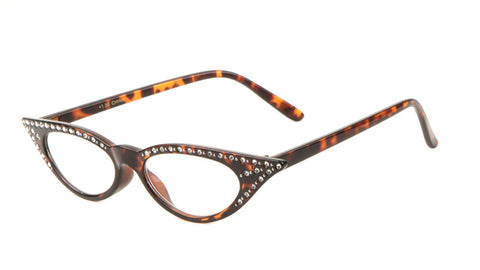 Rhinestone Clear Lens Cat Eye Glasses Wholesale
