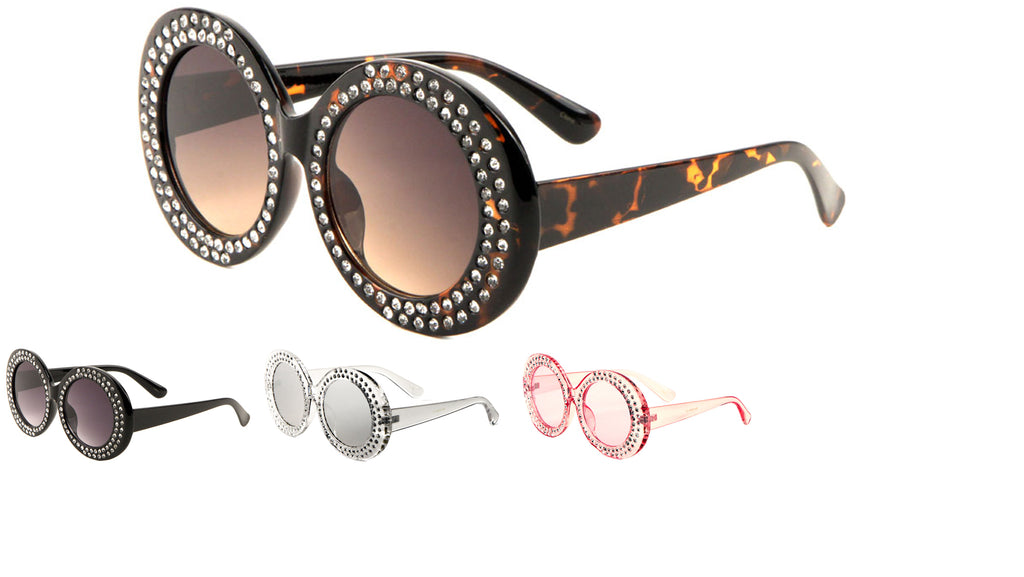 Rhinestoned Round Circle Sunglasses Wholesale
