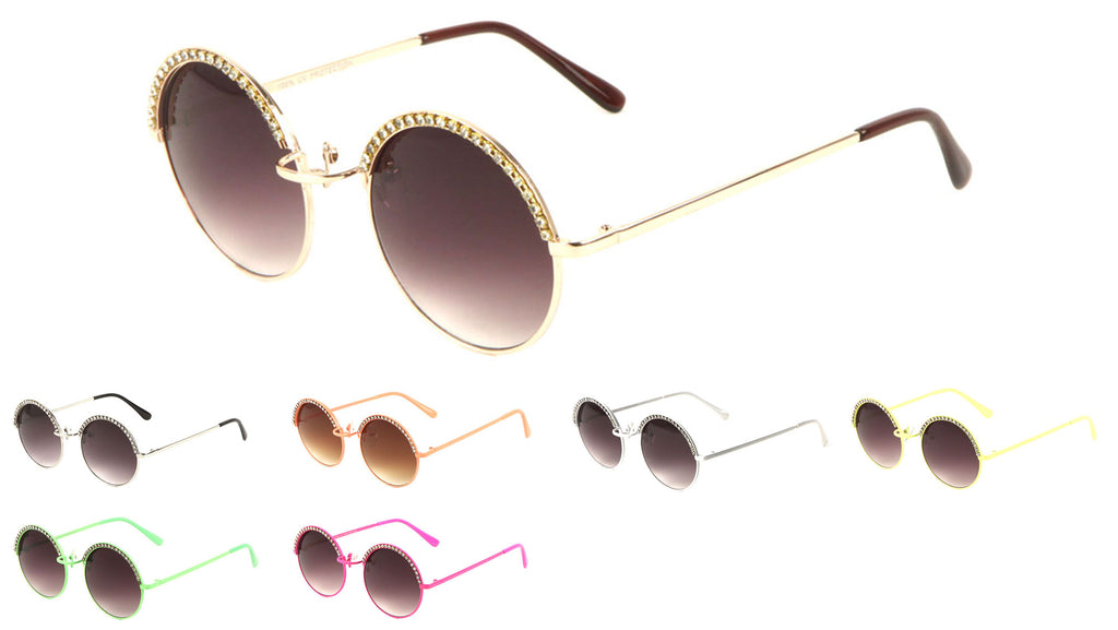 Rhinestone Brow Round Wholesale Bulk Sunglasses