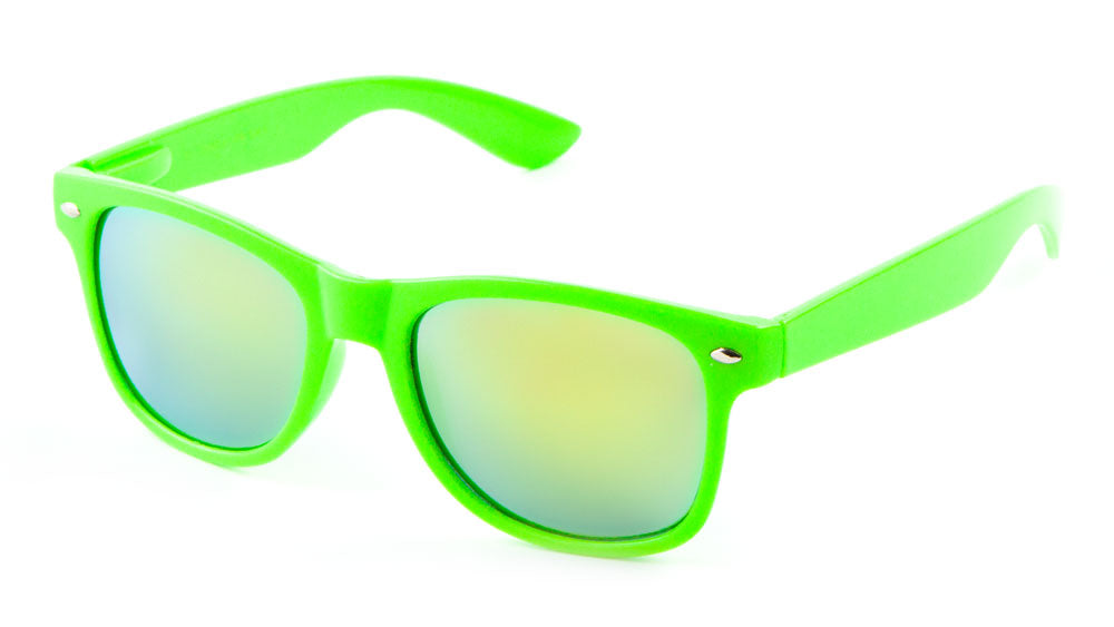 Classic Spring Hinge Solid Neon Frame Color Mirror Bulk Sunglasses