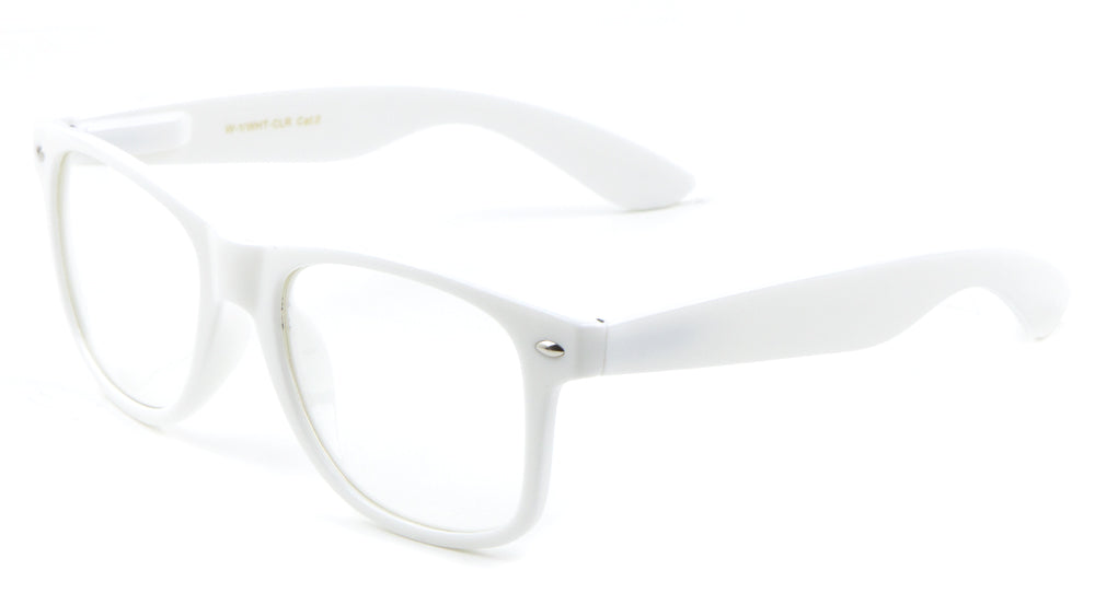 White Classic Spring Hinge Clear Lens Wholesale Bulk Glasses