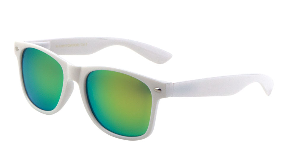 White Classic Color Mirror Sunglasses Wholesale