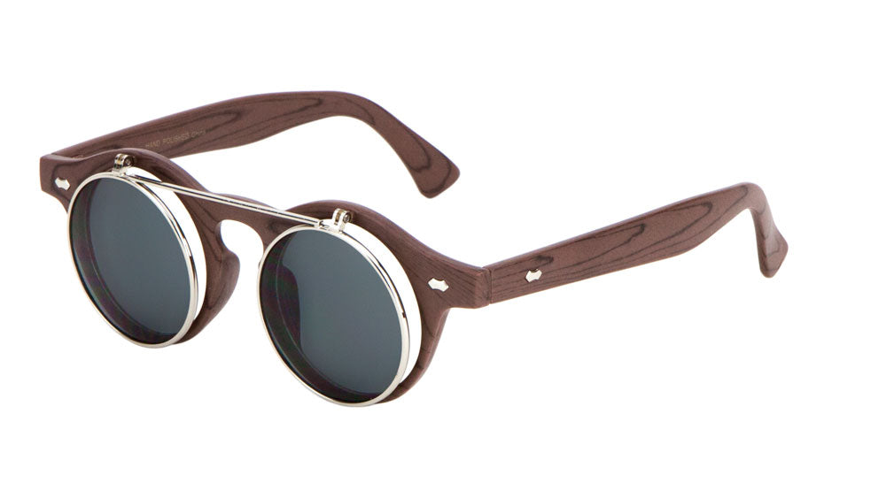 Retro Round Flip Lens Wood Pattern Sunglasses