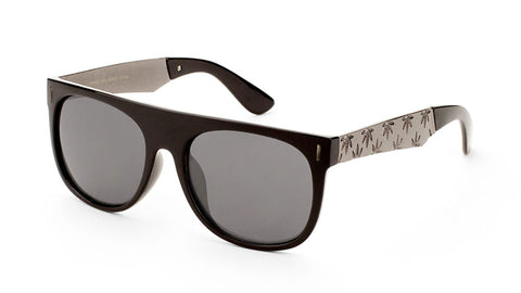 Classic Flat Top Leaf Pattern Sunglasses