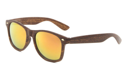 Classic Wood Pattern Color Mirror Sunglasses