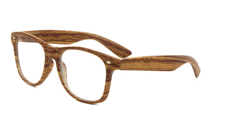 W-697-WD-CLR - Wood Pattern Classic Clear Lens Wholesale Bulk Glasses
