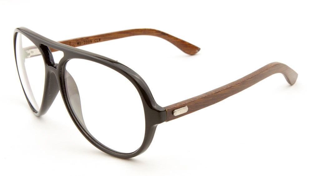 EKO Aviators Wood Sunglasses with Clear Lens